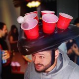 Inflatable beerpong hat