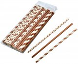 Straws paper brown and white 24-pack