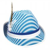 Tyrolean hat blue and white grid pattern