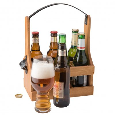 Wooden 6-pack with cap opener