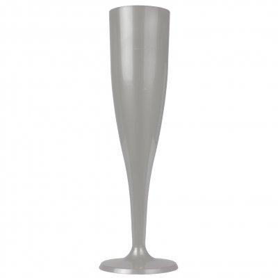 Champagne glass plastic 10 cl silver, 6-pack