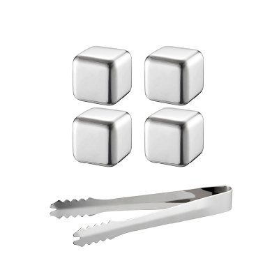 Ijs ice cubes in stainless steel 4-pack with tong