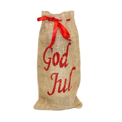 Jute bag with silk ribbon and text God Jul in red text