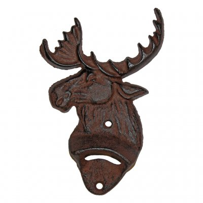 Wall mounted cap opener moose head