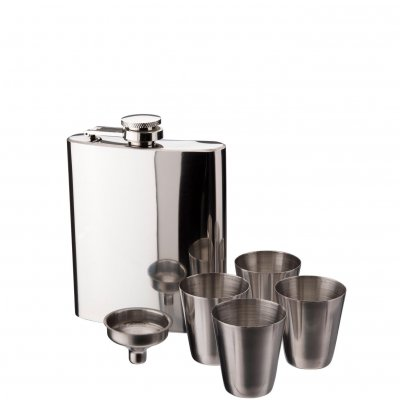 Hip flask with funnel and 4 glasses