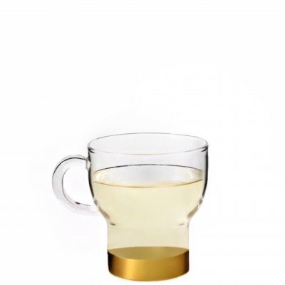 Glass Cup golden band 25 cl 2-pack