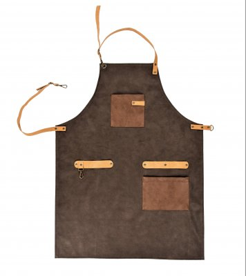 Apron Ziczac brown leatherlook