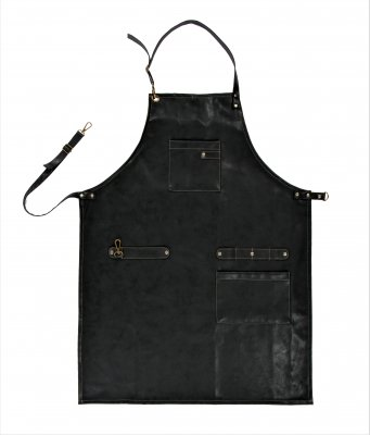 Apron Ziczac black leatherlook